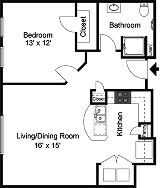 The Frederic - One Bedroom / One Bath - 750 Sq. Ft.*