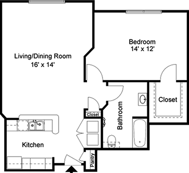 The Chopin - One Bedroom / One Bath - 849 Sq. Ft.*