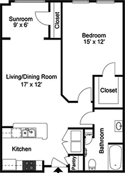 Belgian - One Bedroom / One Bath / Sunroom - 829 Sq. Ft.*