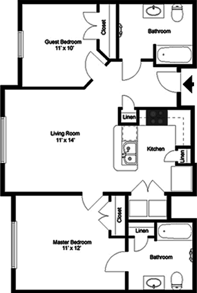 The Amadeus - Two Bedroom / Two Bath - 935 Sq. Ft.*