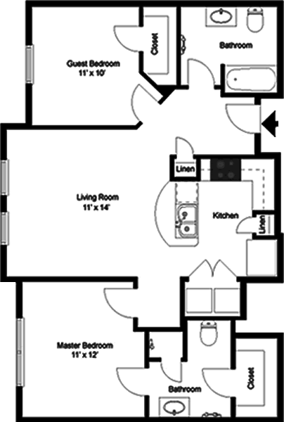 The Beethoven - Two Bedroom / Two Bath - 935 Sq. Ft.*