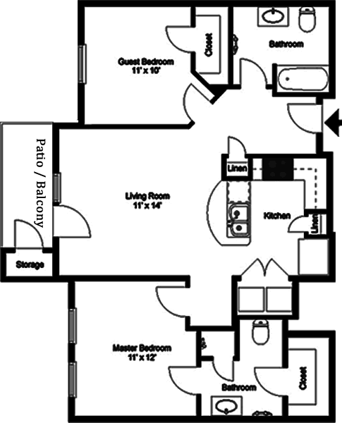 The Mozart - Two Bedroom / Two Bath - 935 Sq. Ft.*